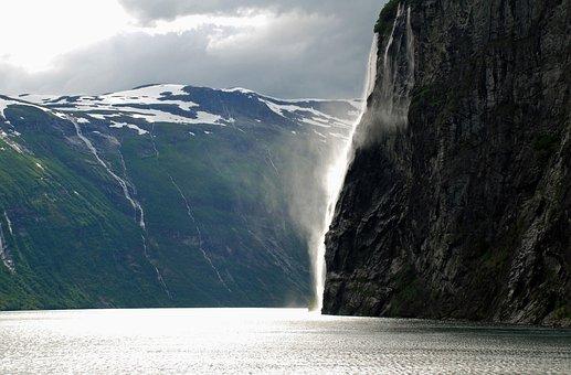 Fjord, Northwest Norway, Waterfalls, Sea, Mountain