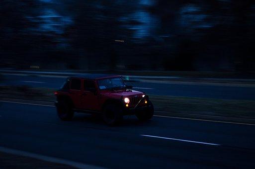 Car, Blur, Night, City, Vehicle, Road, Transportation