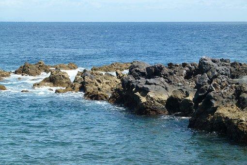 Cliffs, Sea, Rock, Madeira, Coast, Ocean, Summer