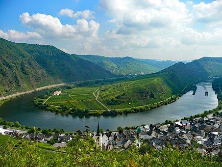 Bremm, Mosel, Sachsen, Germany, Wine, Vineyards