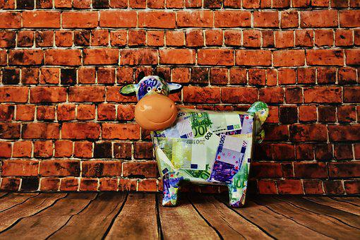 Piggy Bank, Cow, Bank Note, Save, Porcelain, Finance