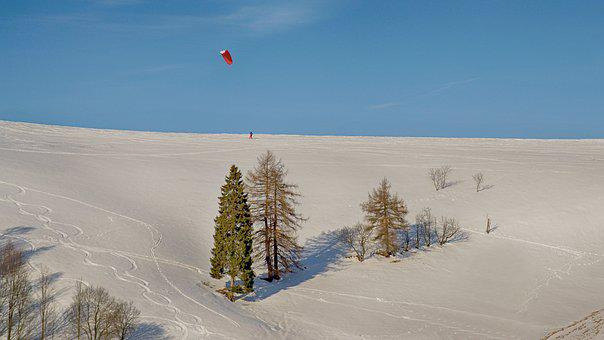 Winter, Mountains, Snow, Sport, Snowkiting, Pleasure