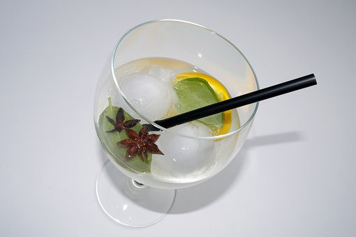 Gin Tonic, Drink, Ice Balls, Straw, Star Anise, Alcohol