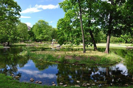 Poland, Warsaw, Garden Krasinski, Park, Lake, Summer