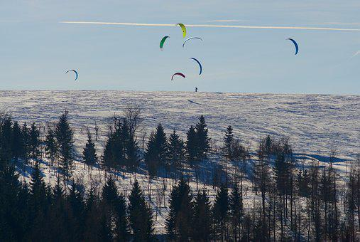 Winter, Snow, Forest, Snowkiting, The Ore Mountains