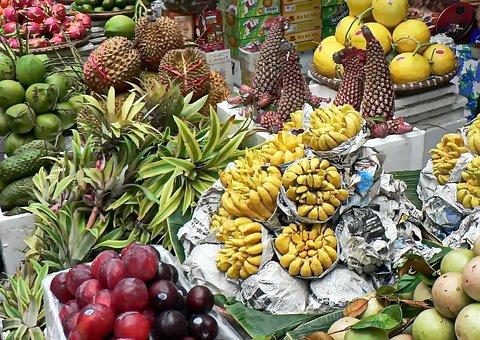 Viet Nam, Market, Vegetables, Grapefruit, Pineapple