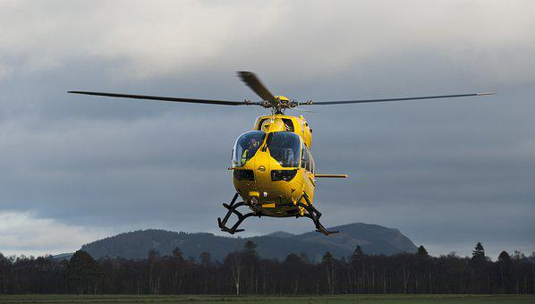 Helicopter, Chopper, Yellow, Aircraft, Rotor, Sky