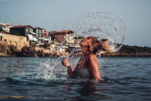 Water Splash With Hair, Beautiful Girl