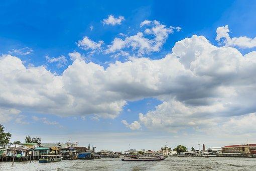 Tags Cloud, Water, Clouds, Ocean, Sky, Horizon, Blue