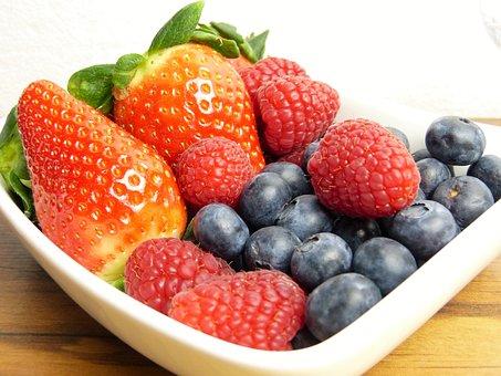 Fruit, Fresh, Strawberries, Blueberries, Raspberries
