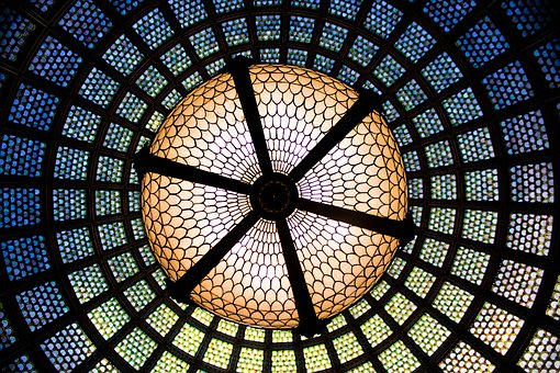 Tiffany Dome, Chandelier, Glass, Glass Ceiling, Light