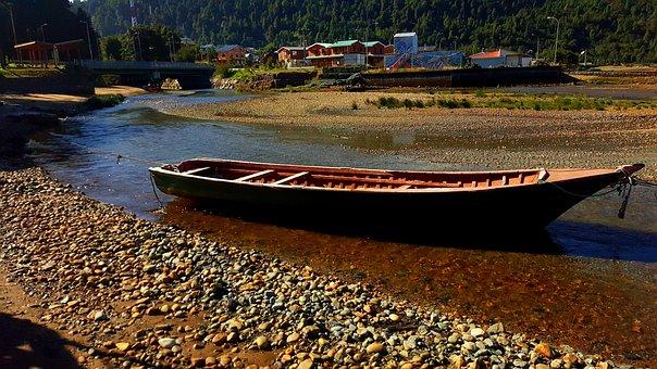Boat, Stones, River, Port, Aysen, Chile
