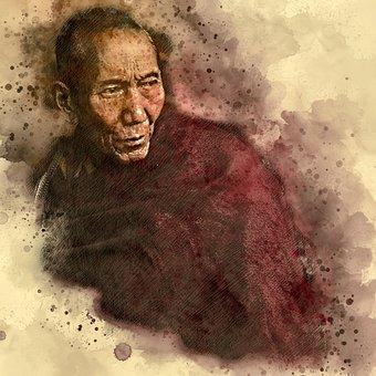 Lama, Tibet, Vicissitudes, Old Monk, China, Man, Human