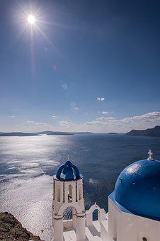 Santorini, Greece, Midday Sun, Blue Dome, Church