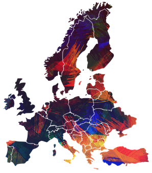 Europe, Continent, World, Colorful, Color, Painted