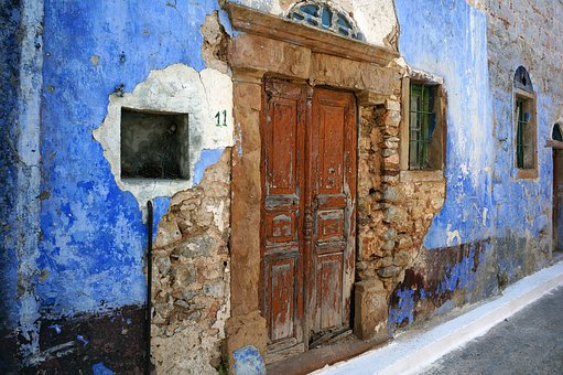 Chios, Greek Island, Door, Blue, Holiday, Old House