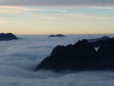Luserna, Val D'astico, Clouds, Fog, Mountain, Dawn