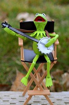 Kermit, Frog, Muppet, Toy, Banjo, Playing, Sitting