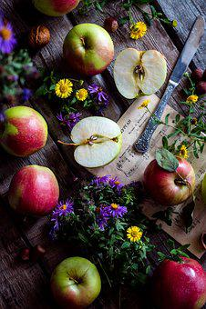 Apples, Garden, Wooden Desk, Still Life, Apple Orchard
