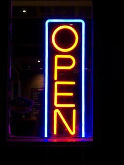 Open, Neon Sign, Lights, Night, Electric, Glow
