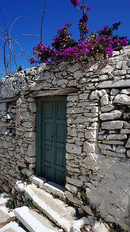 Greek Island, Blue Sky, Old Town, Door, Shack, Greece