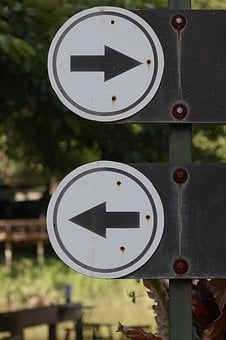 Sign, Traffic, Right, Left, Turn, Road, Highway