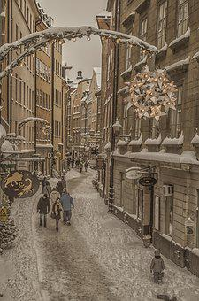 Stockholm, Snow, House, Winter, Cold, Twilight, Old
