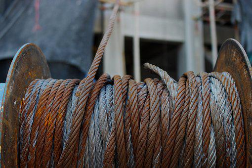 Winch, Cable, Rope, Steel, Metal, Industry, Industrial