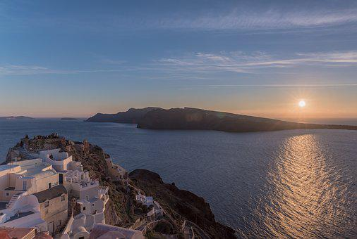Santorini, Castle, Sunset, Greece, Island, Architecture