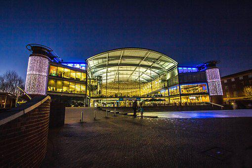 Building, Modern Architecture, Library, In The Evening