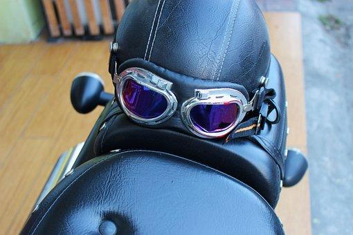Motorbike Helmet, Goggles, Motorbike, Motorcycle