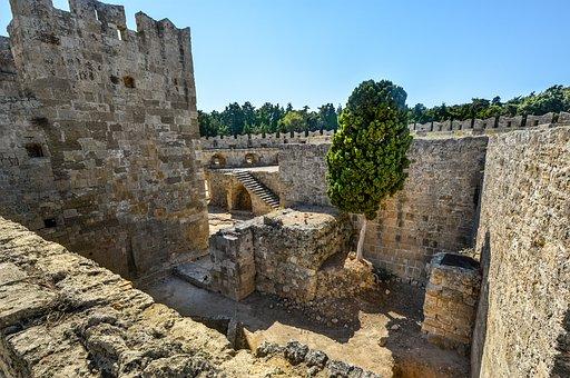Rhodes, Castle, Greece, Cat, Ruins, Fort, Greek
