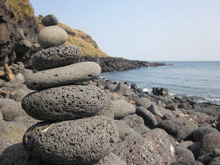 Jeju Island, Udo, Granite, Stone Tower, Sea, Sky, Jeju
