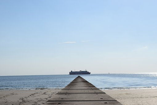 Borkum, Symmetry, North Sea, Buhne Ship, Sky, Summer