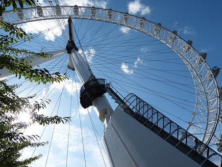 London, London Eye, Landmark, Tourism, Sky, Skyline