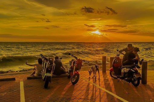 Sunset, People, Spectacular, Sea, Water, Beach, Couple