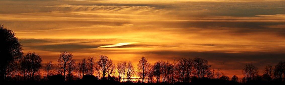 Sunset, Sun, Evening Sky, Clouds, Abendstimmung