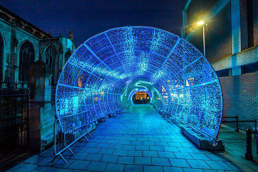 Tunnel, Led Lights, City, In The Evening