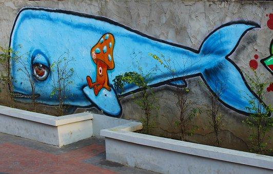 Whale, Street Art, Street, Blue, Fish, Drawing