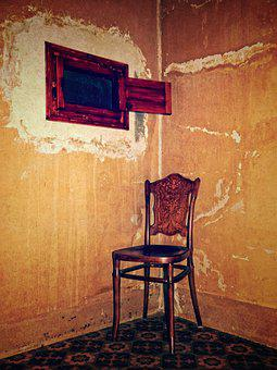 Chair, Window, Old, Mystery, Disturbing, Hold On