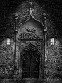 Door, Goal, Black And White, Old Door, Input, Wood