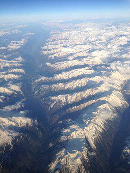 Alps, Snow-capped Peaks, Flight, Aerial View, Mountain
