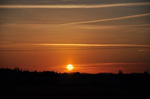 Sunset, Sun, Horizon, Sky, Landscape, Dawn, Beauty