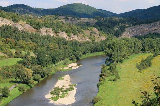 Tetin, River, Berounka, View, Landscape, Rocks, Nature