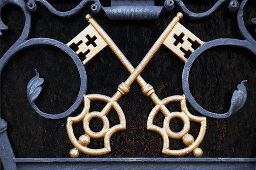 Metal Gate, Key, Gold, Castle, Golden