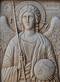 Engraving, Archangel Michael, Wall, Church, Stone