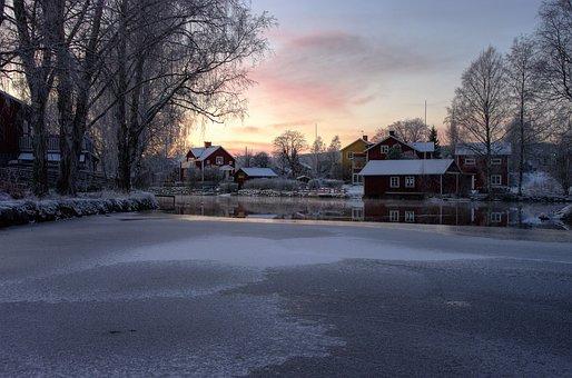 Sundborn, Falun, Sweden, Country Town, Winter, Village