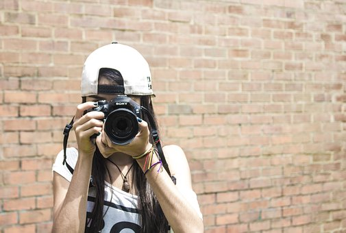 Camera, Brick, Women, Culture, Wall, Photographing