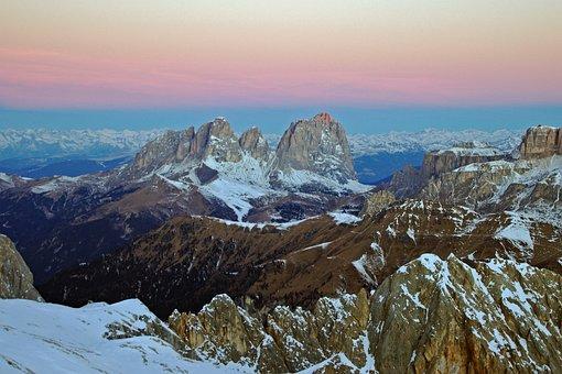 Aurora, Sassolungo, Dolomites, Massif Of The Saddle