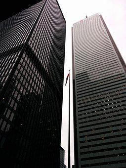 Skyscrapers, Black And White, Tower, Toronto, Downtown
